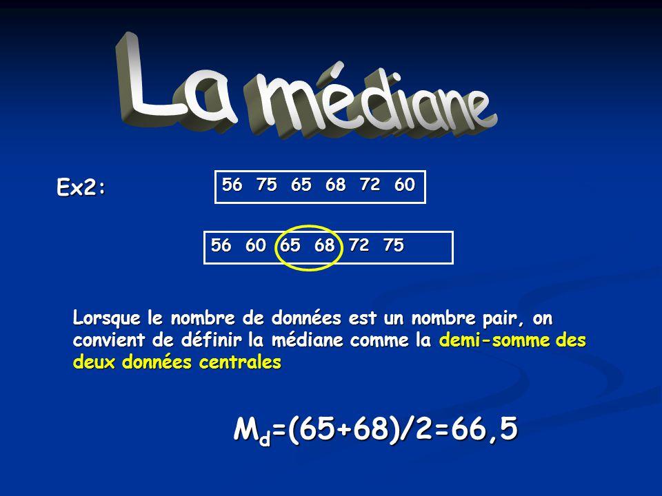 La médiane Md=(65+68)/2=66,5 Ex2: