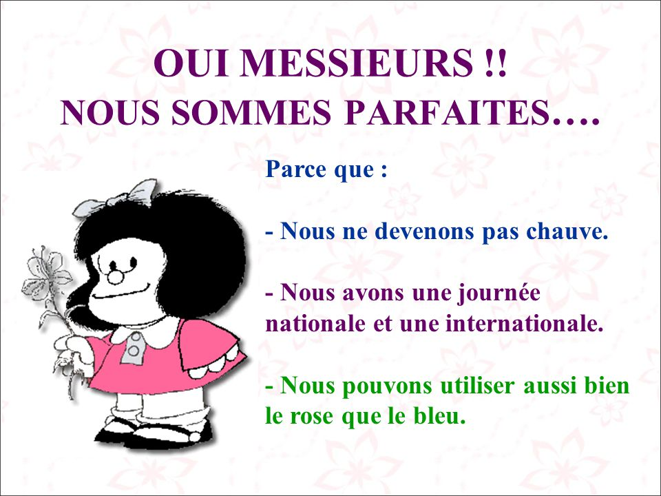 OUI MESSIEURS !! NOUS SOMMES PARFAITES….
