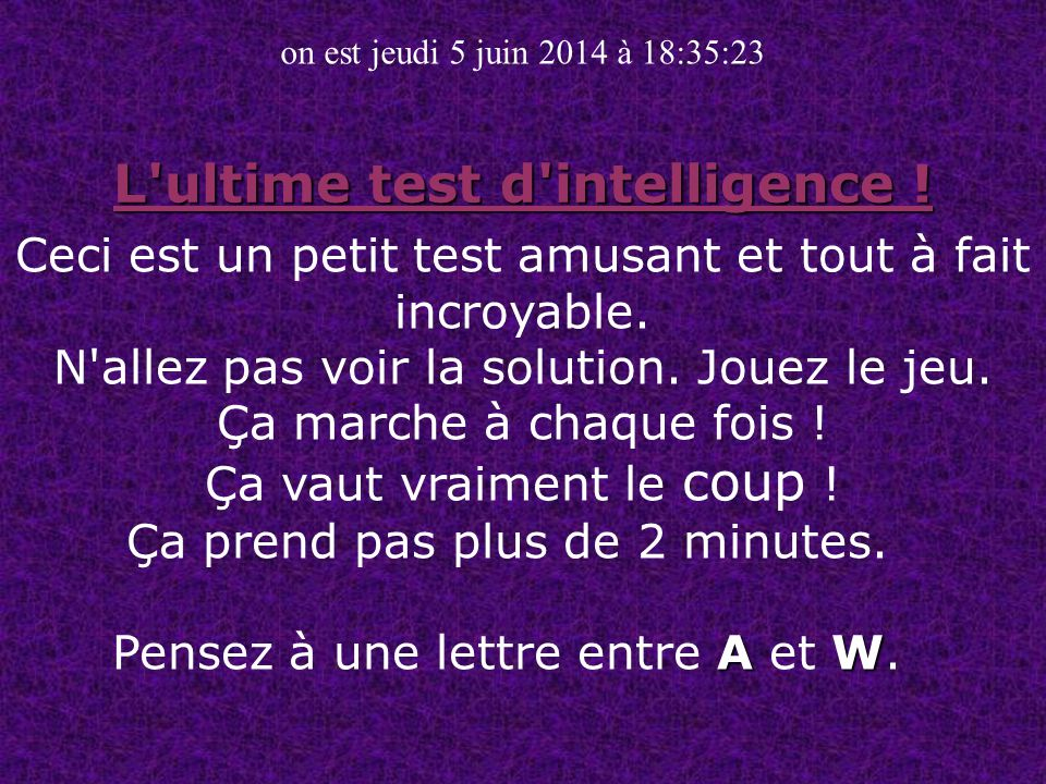L ultime test d intelligence !