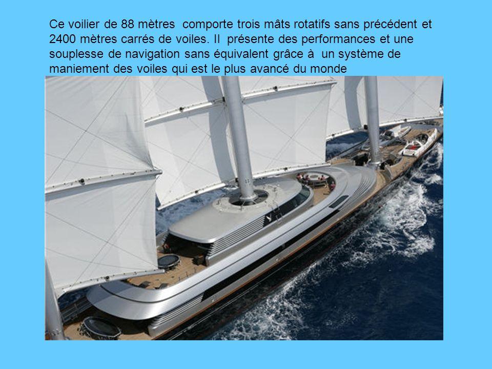 Ce voilier de 88 mètres comporte trois mâts rotatifs sans précédent et 2400 mètres carrés de voiles.