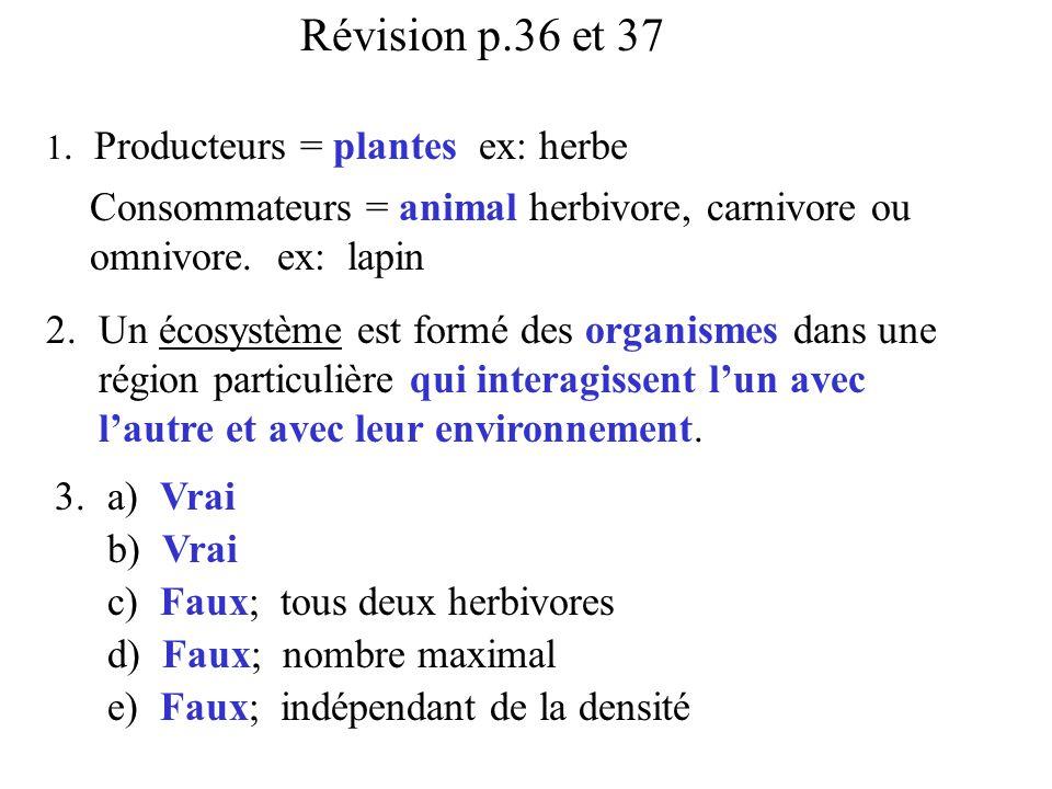 Révision p.36 et 37 1. Producteurs = plantes ex: herbe. Consommateurs = animal herbivore, carnivore ou omnivore. ex: lapin.