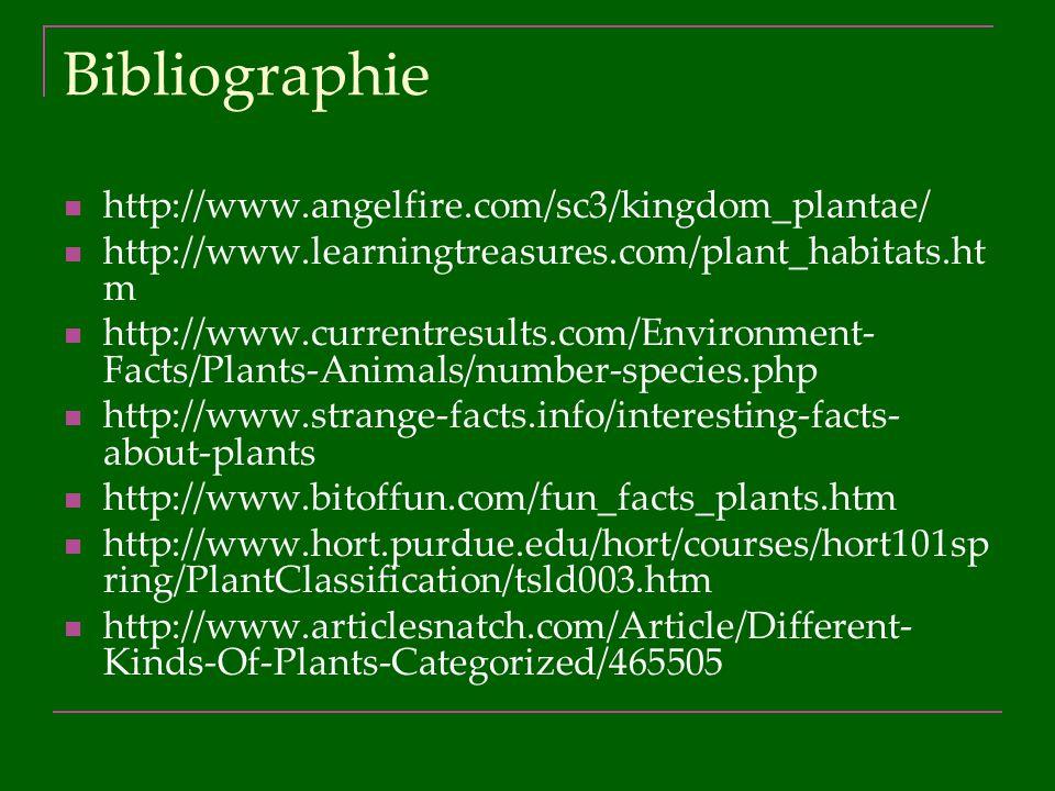 Bibliographie http://www.angelfire.com/sc3/kingdom_plantae/