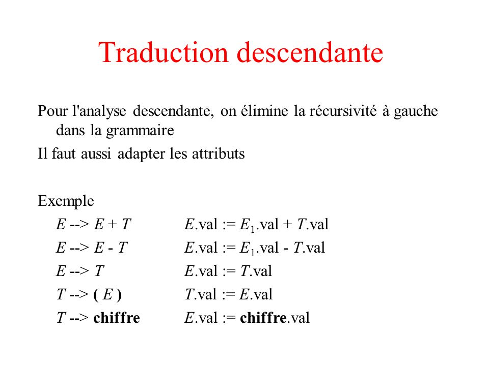 Traduction descendante