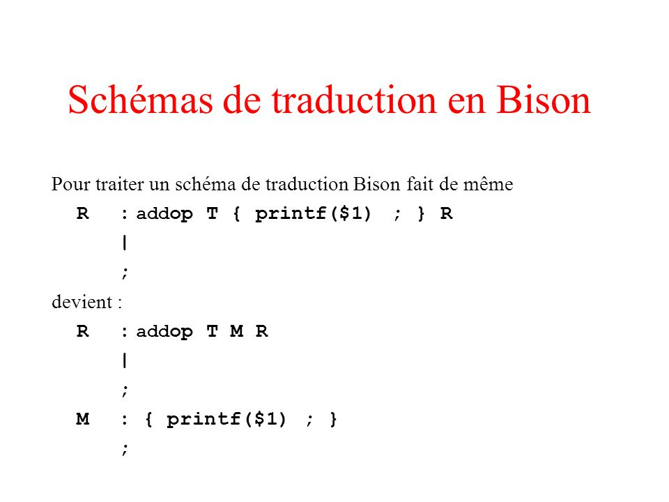 Schémas de traduction en Bison
