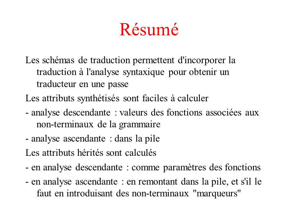 Résumé Les schémas de traduction permettent d incorporer la traduction à l analyse syntaxique pour obtenir un traducteur en une passe.