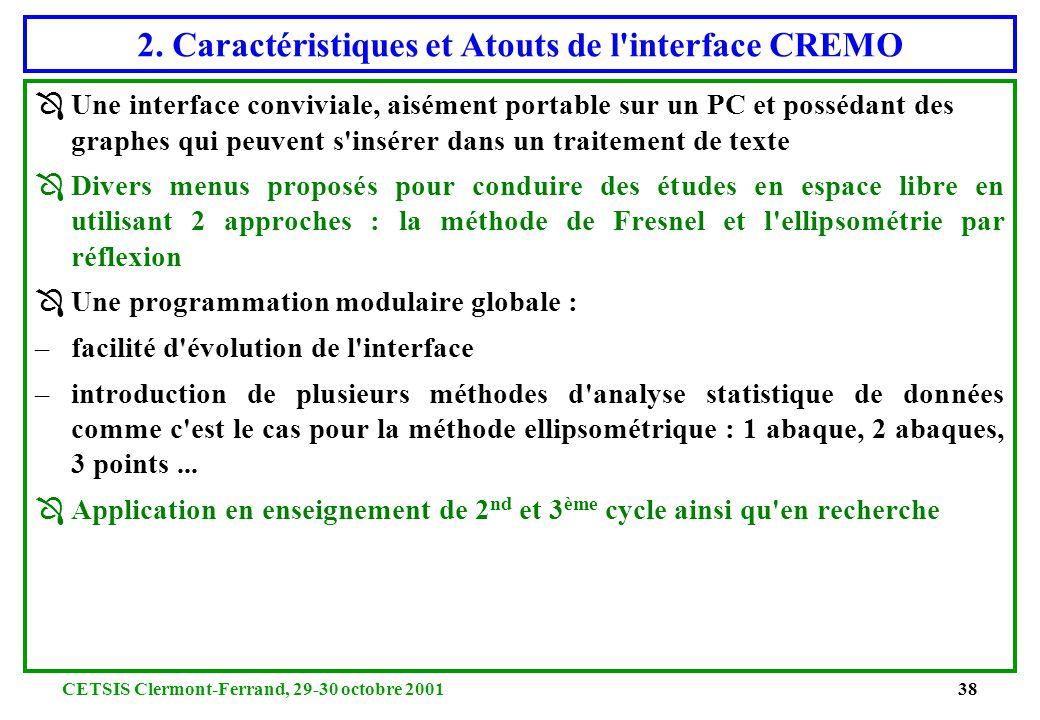 2. Caractéristiques et Atouts de l interface CREMO