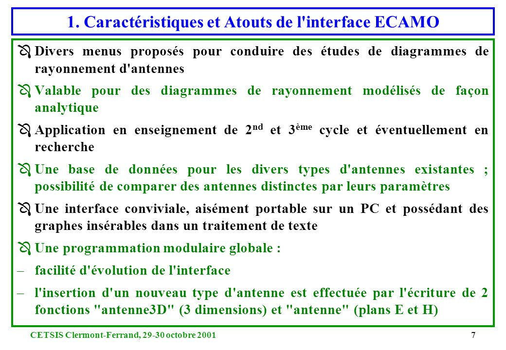 1. Caractéristiques et Atouts de l interface ECAMO