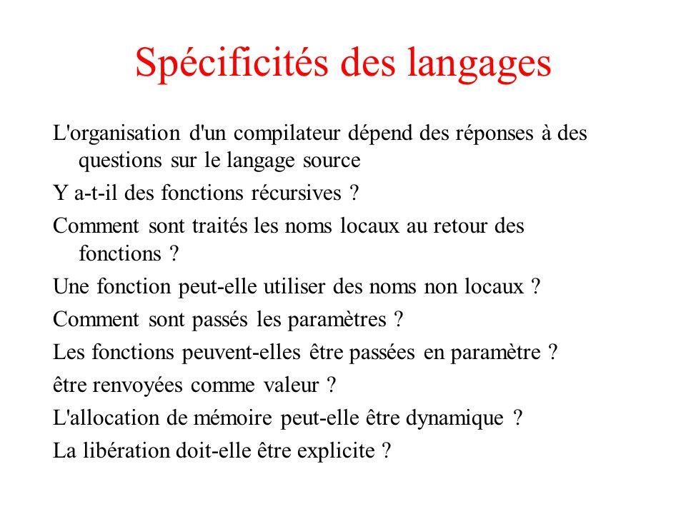 Spécificités des langages