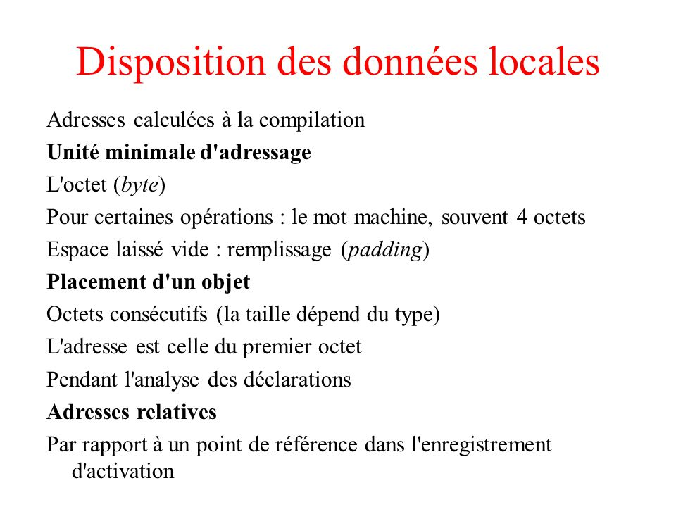 Disposition des données locales