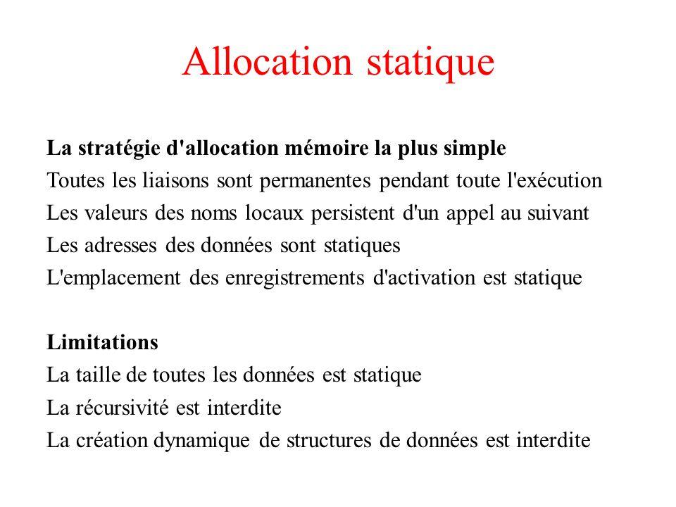 Allocation statique La stratégie d allocation mémoire la plus simple