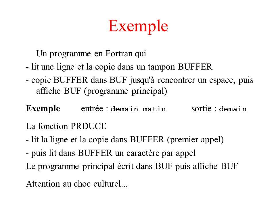 Exemple Un programme en Fortran qui