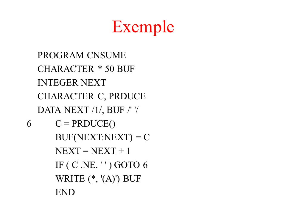 Exemple PROGRAM CNSUME CHARACTER * 50 BUF INTEGER NEXT