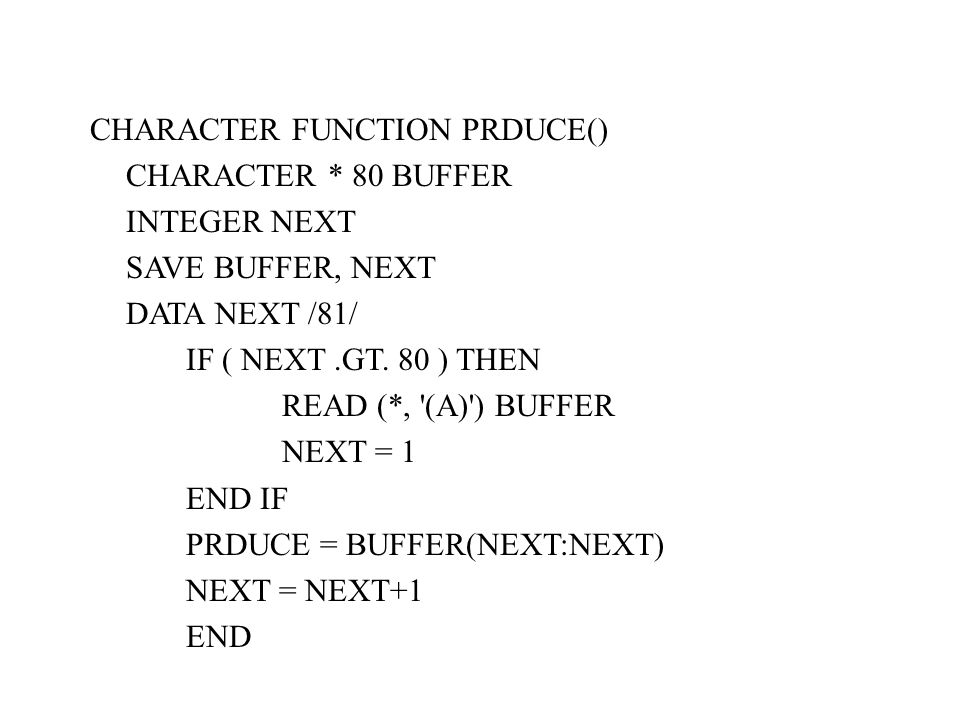 CHARACTER FUNCTION PRDUCE()