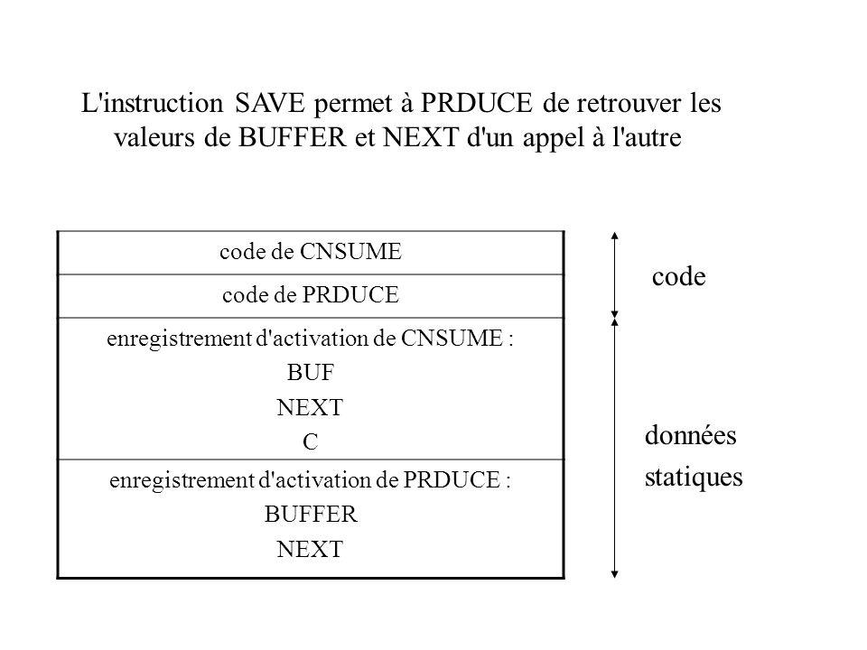 L instruction SAVE permet à PRDUCE de retrouver les valeurs de BUFFER et NEXT d un appel à l autre