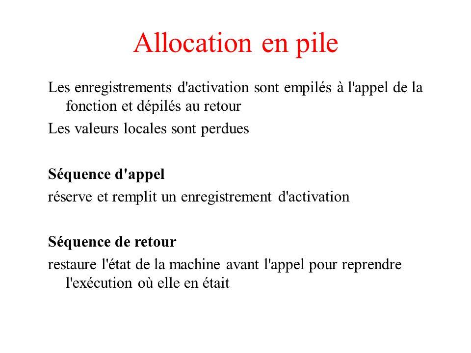 Allocation en pile Les enregistrements d activation sont empilés à l appel de la fonction et dépilés au retour.