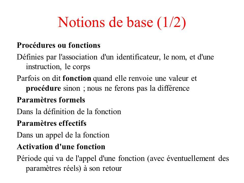 Notions de base (1/2) Procédures ou fonctions