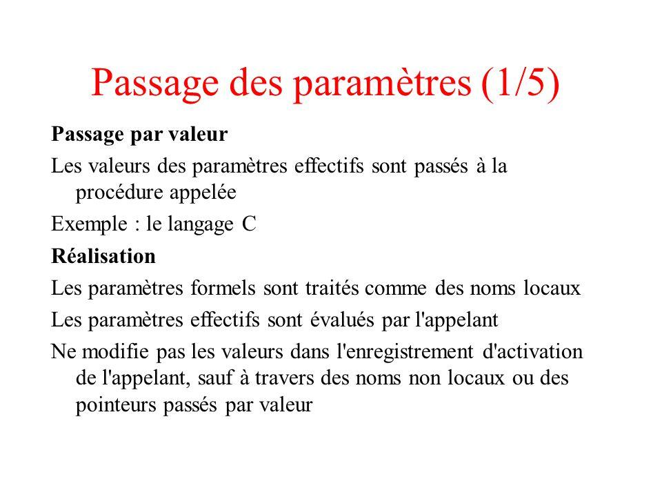 Passage des paramètres (1/5)