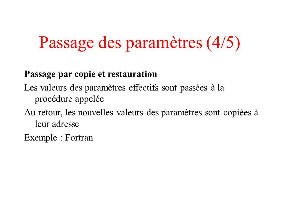 Passage des paramètres (4/5)