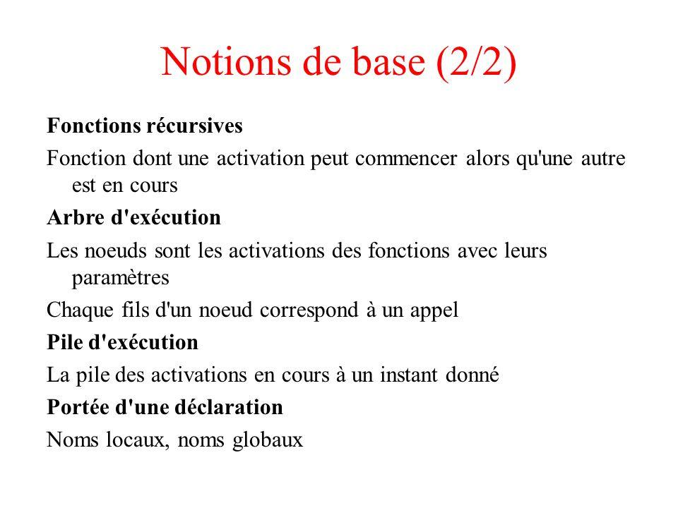 Notions de base (2/2) Fonctions récursives