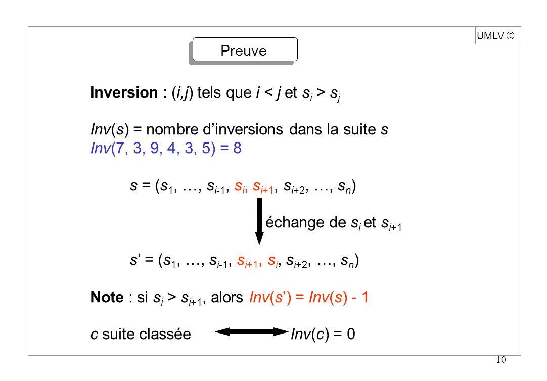 Inversion : (i,j) tels que i < j et si > sj