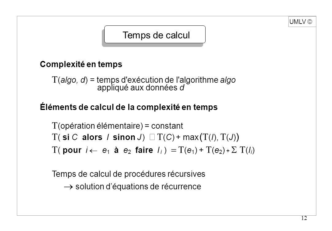 T(algo, d) = temps d exécution de l algorithme algo