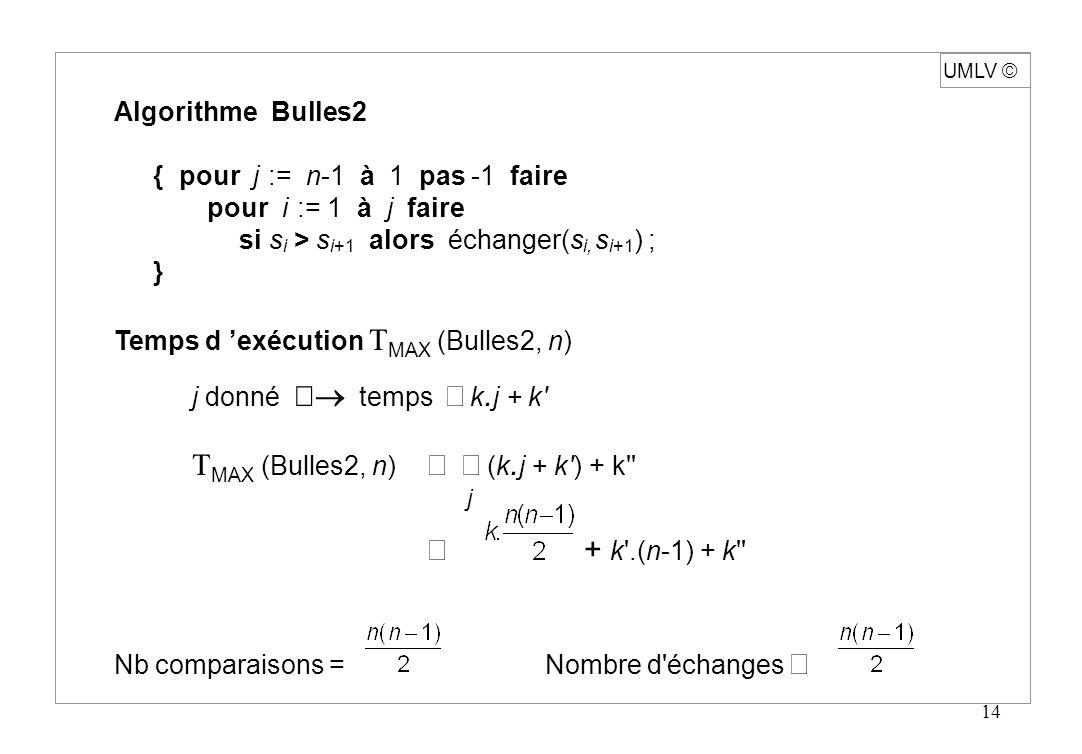 UMLV ã Algorithme Bulles2 { pour j := n-1 à 1 pas -1 faire
