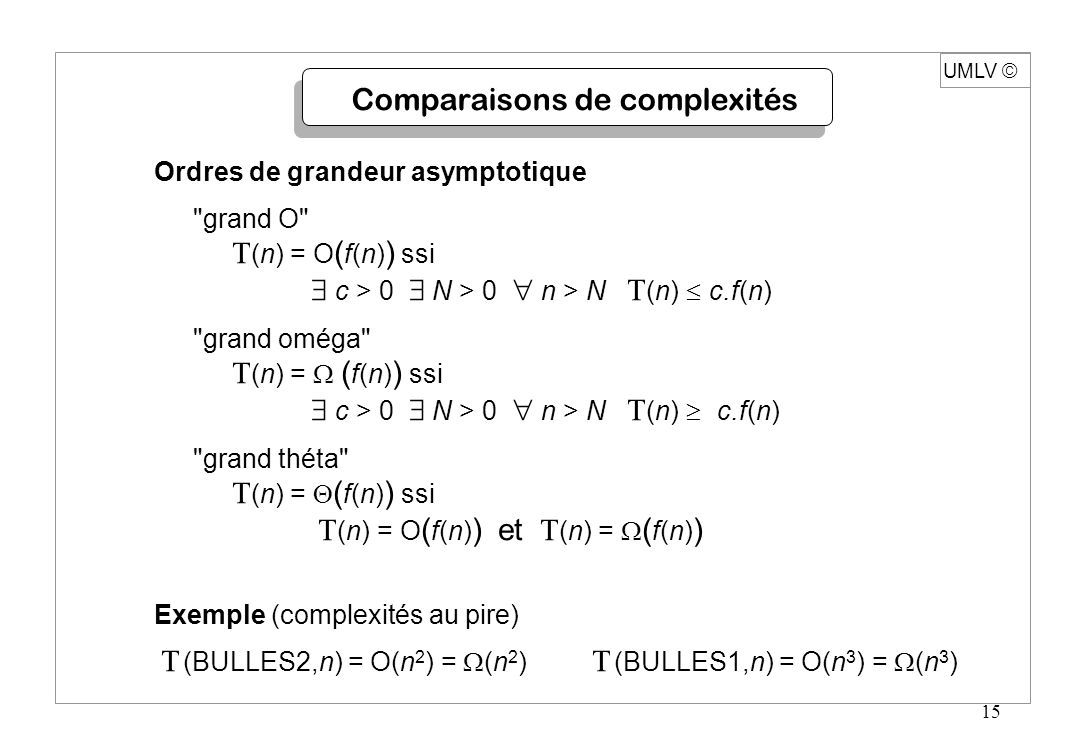 Comparaisons de complexités