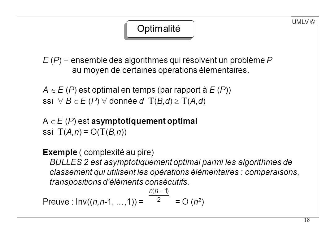 UMLV ã Optimalité. E (P) = ensemble des algorithmes qui résolvent un problème P. au moyen de certaines opérations élémentaires.