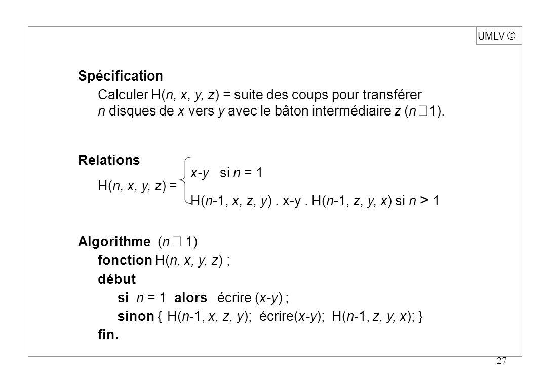 UMLV ã Spécification. Calculer H(n, x, y, z) = suite des coups pour transférer. n disques de x vers y avec le bâton intermédiaire z (n ³ 1).