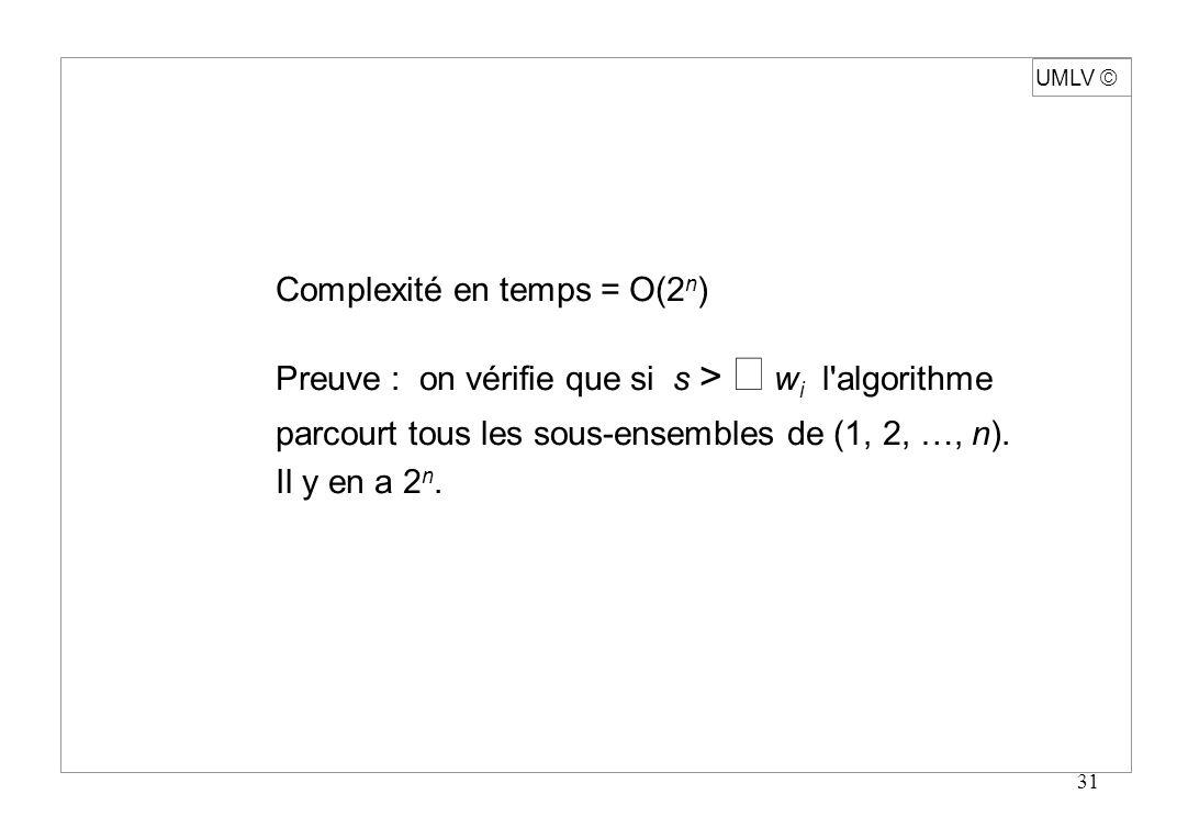 Complexité en temps = O(2n)