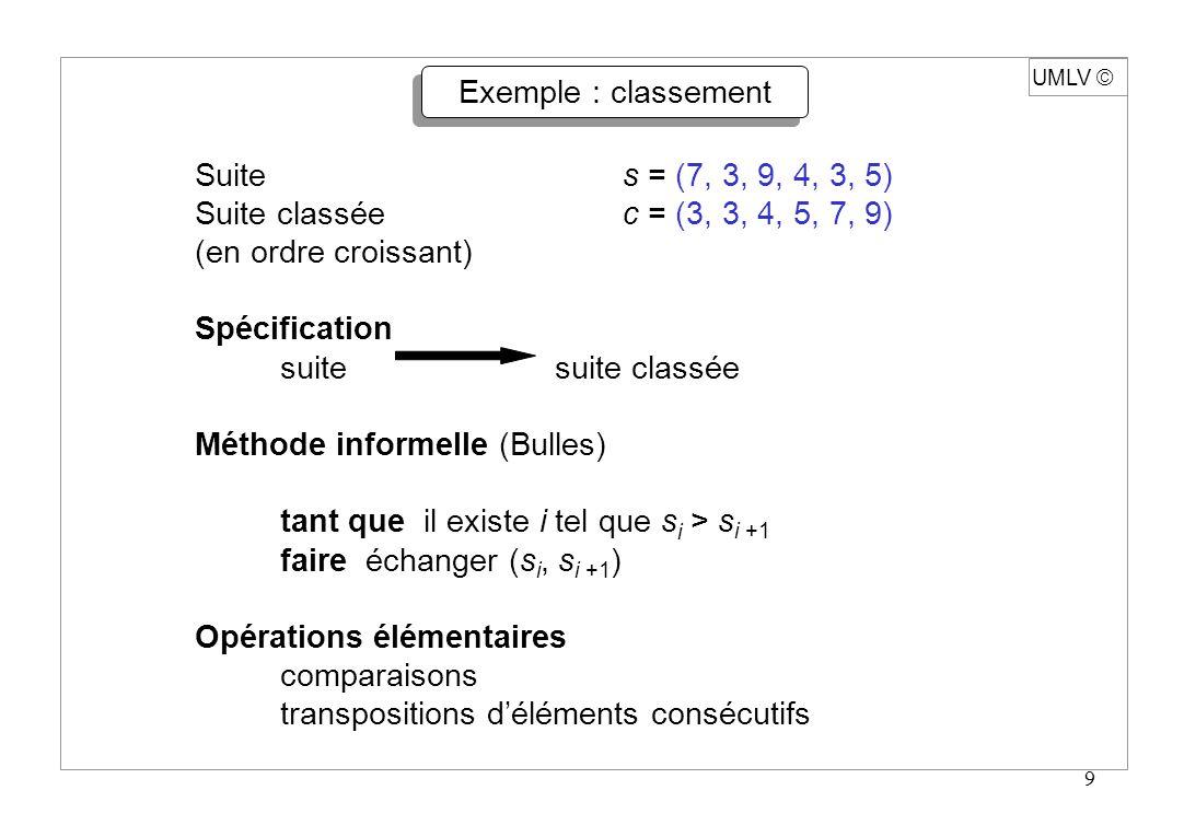 UMLV ã Exemple : classement. Suite s = (7, 3, 9, 4, 3, 5) Suite classée c = (3, 3, 4, 5, 7, 9)