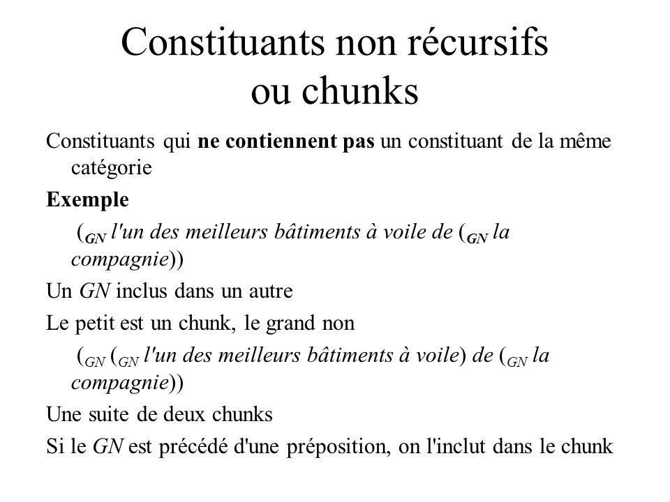 Constituants non récursifs ou chunks