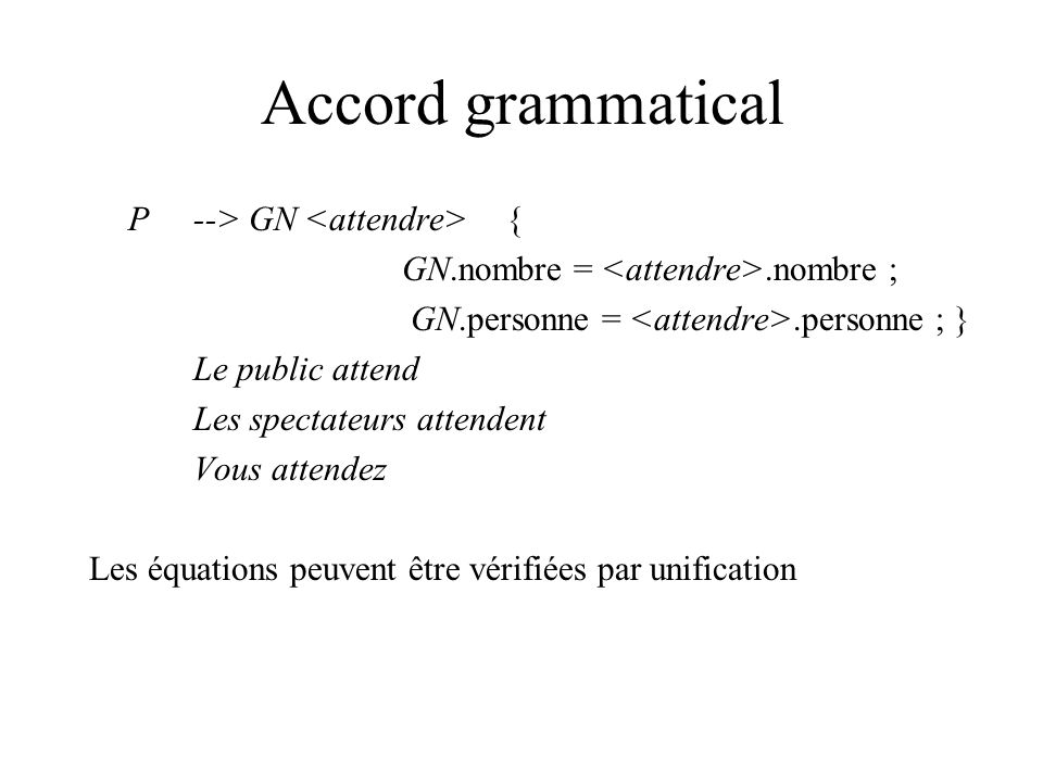 Accord grammatical P --> GN <attendre> {