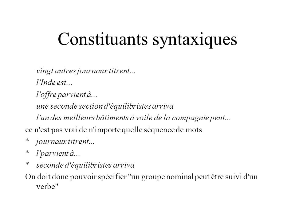 Constituants syntaxiques
