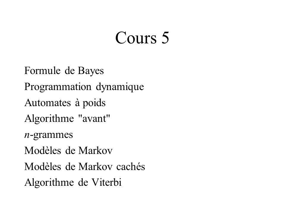 Cours 5 Formule de Bayes Programmation dynamique Automates à poids