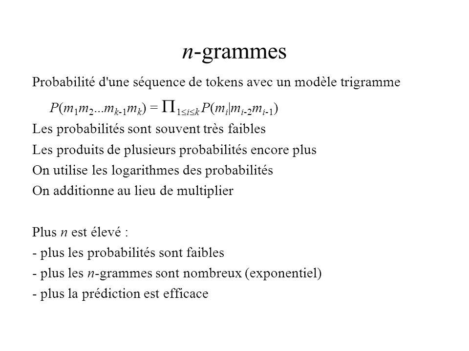 n-grammes Probabilité d une séquence de tokens avec un modèle trigramme. P(m1m2...mk-1mk) = 1ik P(mi|mi-2mi-1)