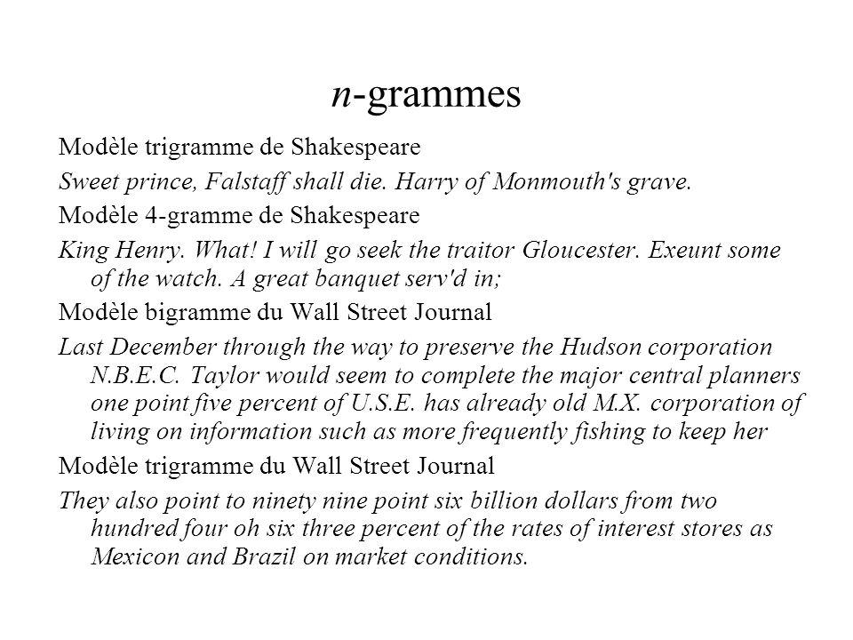 n-grammes Modèle trigramme de Shakespeare