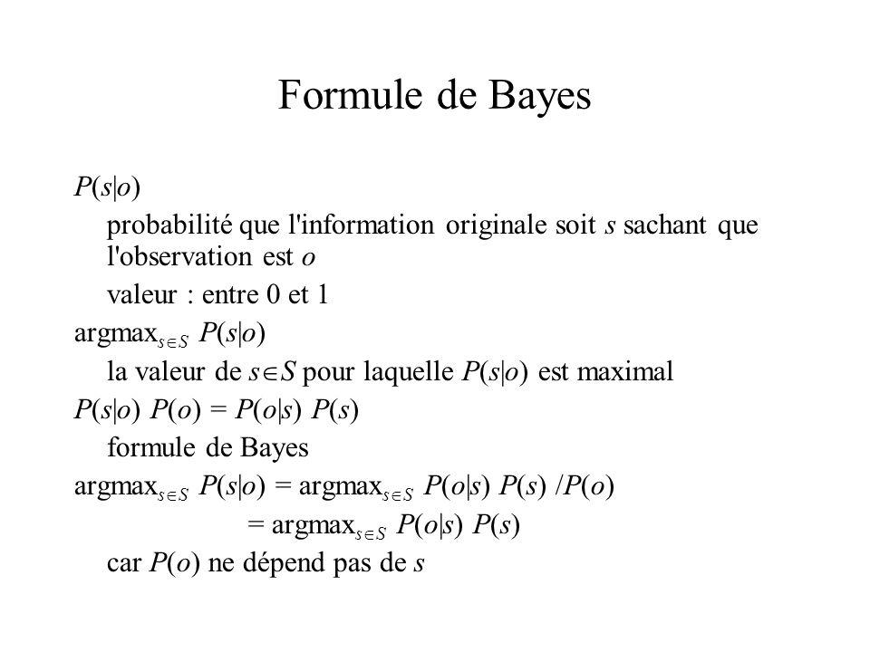 Formule de Bayes P(s|o)