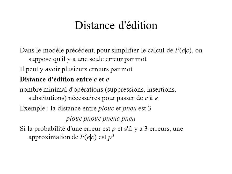 Distance d édition Dans le modèle précédent, pour simplifier le calcul de P(e|c), on suppose qu il y a une seule erreur par mot.