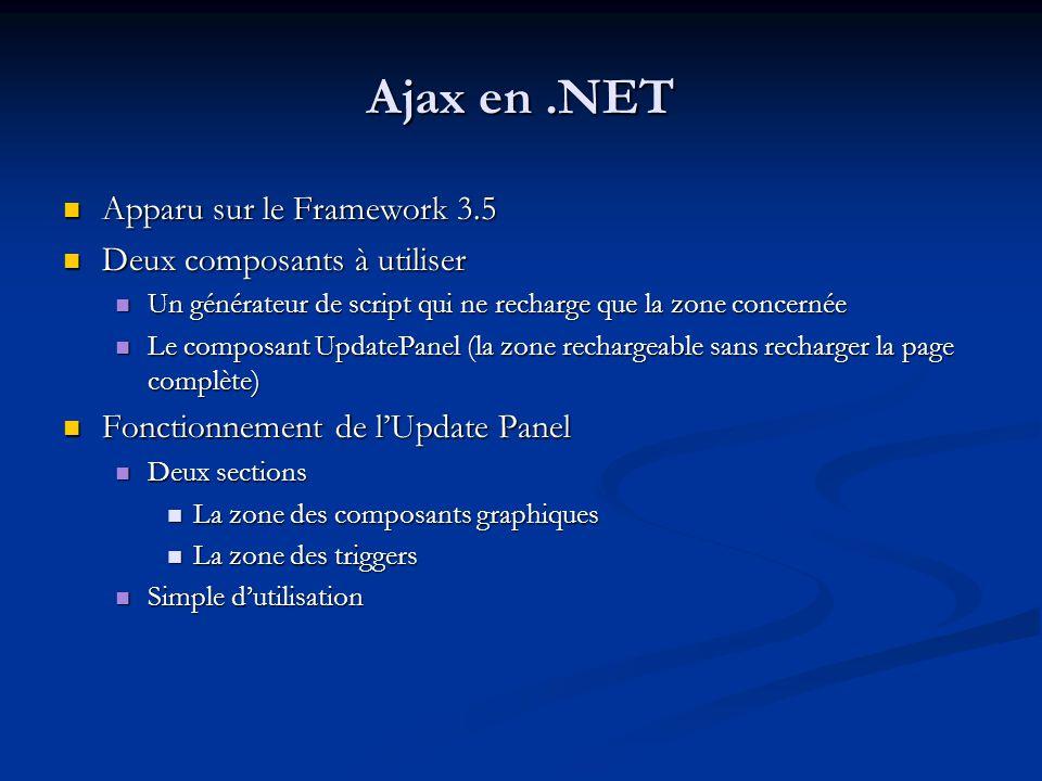 Ajax en .NET Apparu sur le Framework 3.5 Deux composants à utiliser