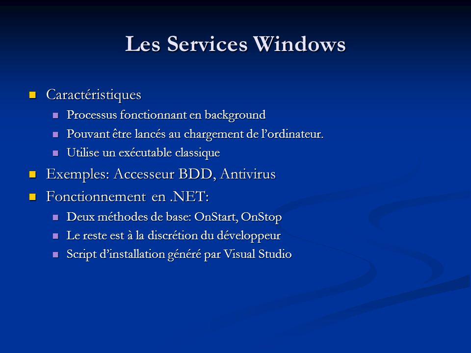 Les Services Windows Caractéristiques