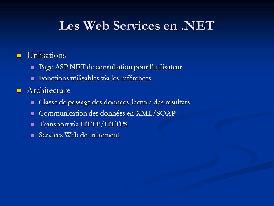 Les Web Services en .NET Utilisations Architecture