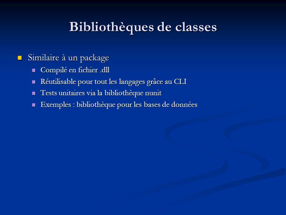 Bibliothèques de classes