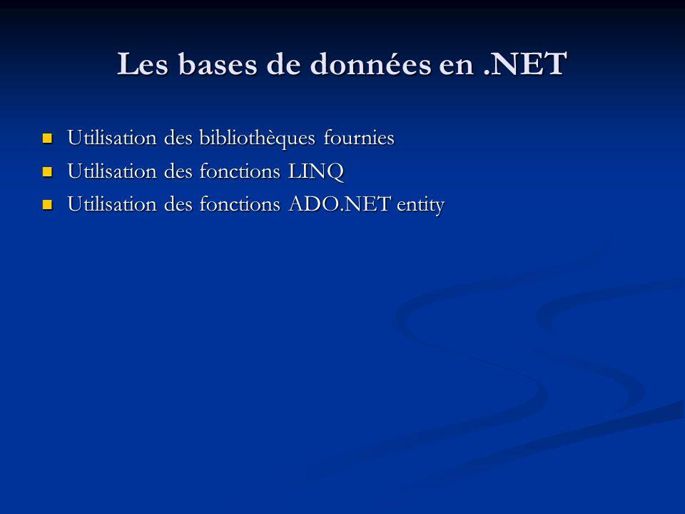 Les bases de données en .NET