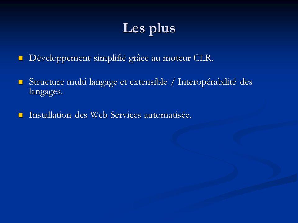 Les plus Développement simplifié grâce au moteur CLR.