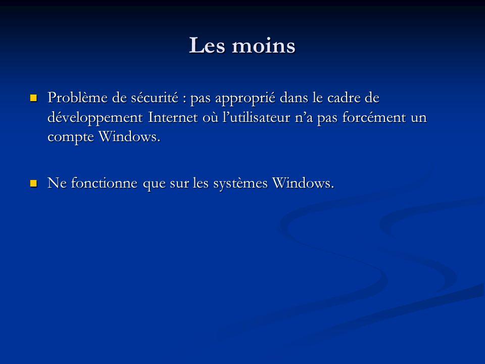 Les moins Problème de sécurité : pas approprié dans le cadre de développement Internet où l'utilisateur n'a pas forcément un compte Windows.