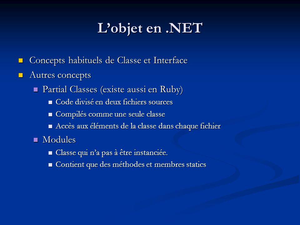 L'objet en .NET Concepts habituels de Classe et Interface