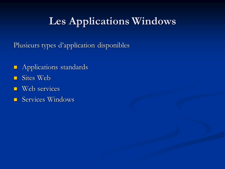 Les Applications Windows
