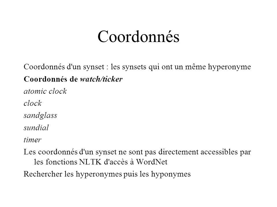 Coordonnés Coordonnés d un synset : les synsets qui ont un même hyperonyme. Coordonnés de watch/ticker.