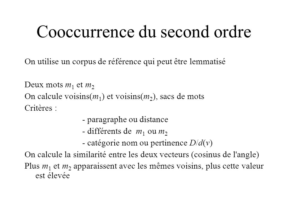 Cooccurrence du second ordre
